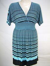 Cristinalove Blue Black Striped Stretch Dress Womens Size Medium 8 10