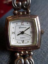 "Geneva Watch Oval Black Numerals Sweep Silver Bracelet Celtic Knot Design 8"" EUC"