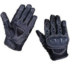Mens Short Leather Knuckle Protection Motorbike Motorcycle Biker Summer Gloves