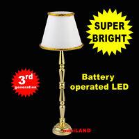 Brass floor LED LAMP Dollhouse miniature light battery on/off 1:12 NEW
