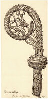 Fine 19th century pen and ink drawing Celtic Cross Dublin Museum Ireland antique