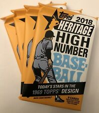 (4) Pack Lot 2018 Topps Heritage High Number Baseball From Box