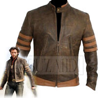 Distressed Brown Retro Zipped Biker Jacket Inspired by X-Men Jackman Wolverine