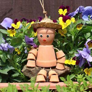 Bill & Ben Small Terracotta Flower Pot Man Hanging Garden Ornament Patio Gift UK