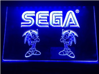 Sega Sonic Blue Neon LED Light Sign Bar Pub Man Cave Game Room Etc