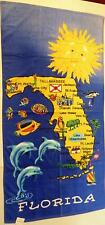 "Map of Florida Beach Towel Dolphins Sun Water Sand 30"" x 60"""
