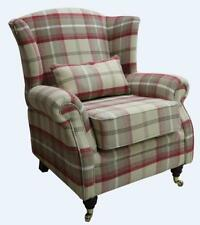 Ashley Wing Chair Fireside High Back Armchair Balmoral Cranberry Check PS