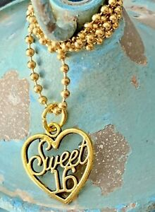 Gold Tone Sweet 16 Necklace. Love. Sixteen Candles. Bloom. Happy Birthday. Gift
