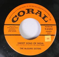 50'S/60'S 45 The Mcguire Sisters - Sweet Song Of India / Give Me Love On Coral