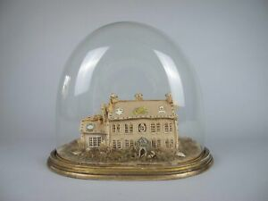 Exceptional Large Victorian Beadwork Diorama Of A House In Original Glass Dome.