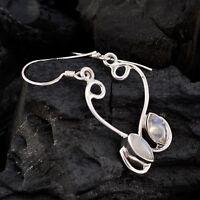 ideale Regenbogen Mondstein 925 Sterling Silber weißen Ohrring natürlichen DE