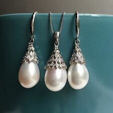 Genuine Cultured Freshwater Pearl Necklace Earring S925 Set Real pearl 9-10mm