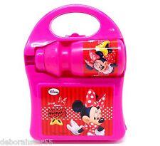 Girls Pink Minnie Mouse Lunch Box Bottle School Bag Sandwich Box Drink Bottle