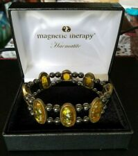 NEW Magnetic Therapy Haematite/Amber Style Stones Bracelet