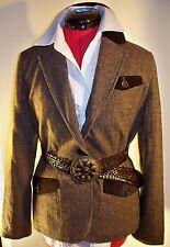 Grace Dane Lewis tweed jacket, brown, equestrian, size 8, wool with silk