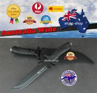 Hunting Camping Military Bowie Survival Knife Sharp Combat Tactical Pig Sticker