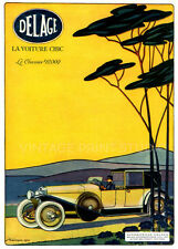 DELAGE 1920, Vintage French Automobile Advertising Giclee Canvas Print 20x28