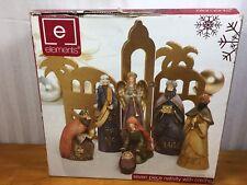 Elements Christmas 7 Piece Ceramic Figurine Nativity Set Metallic Backdrop