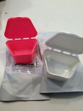 2 NEW Knightshield Denture Case False Teeth Box Storage Pink White   (I5)