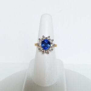 4.08 CTW. CORNFLOWER BLUE CEYLON SAPPHIRE & DIAMOND 18K YELLOW & WHITE GOLD RING
