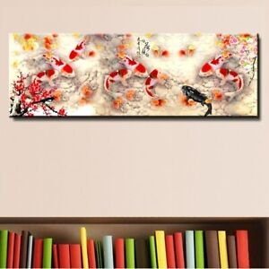 Wall Art Picture HD Abstract Nine Koi Fish Oil Painting Canvas Living Decors