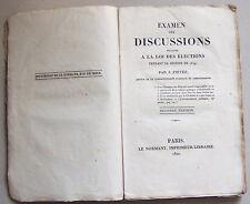 Rare 1820 Joseph FIEVEE Examen des discussions ... loi des élections de 1819 BE