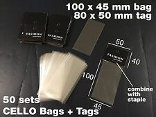 50pcs x Cello Clear Bags No Flap Non Seal (100 x 45mm) with Cardboard Flap