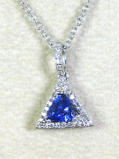 Tanzanite Pendant Rolo Chain 14K white gold Certified Natural Pave Halo Diamonds