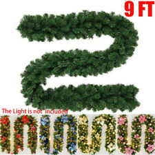9FT Christmas Garland Pre-Lit with Pine Door Wreath Xmas Fireplace Wedding Decor