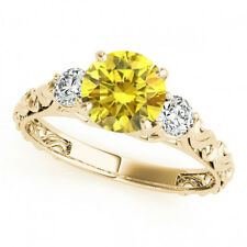0.74 Ct Yellow Canary Diamond 3 Stone Solitaire Engagement Ring 14k Yellow Gold