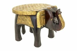 Indian Handmade Wooden Brass Fitted Decorative Elephant Shape Stool Foot Stool