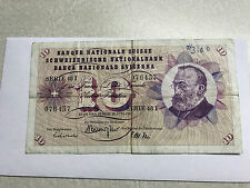 1968 Switzerland 10 Franc Note Circ. Pen Marks #5321