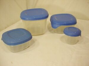 8 Pc Vtg Rubbermaid Servin Saver Blue Lid Storage Container 8 oz to 1.8 Cups