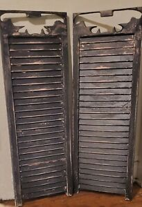 """Pair 32""""x12"""" Antique Vintage Old SOLID Wood Wooden Window Shutter Louver Carving"""