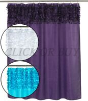 "Floral ""Jasmine"" Fabric Shower Curtain in White, Purple & Cyan Blue,70"" W x72"" L"