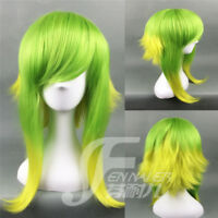 Vocaloid-Gumi Short Green Yellow Color Mixed Wigs Anime Cosplay Party Hair Wig