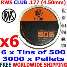 RWS CLUB .177 4.50mm Airgun Pellets 6 (tins)x500pcs (10m PISTOL TRAINING) 0,45g