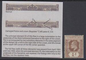 "Leeward Islands, SG 36a, MHR ""Damaged Frame & Crown - Spaven"" variety"