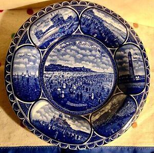 Atlantic City Antique Souvenir 10 in. Plate Dark Blue Rowland Marsellus Pottery