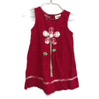Rare Editions Girls Red Sleeveless Corduroy Flower Jumper Dress Size 6
