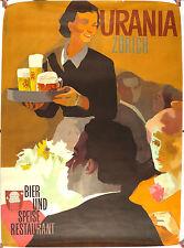 Vtg Orig. advert. Poster Urania Zurich Switzerland, beer food restaurant Koella