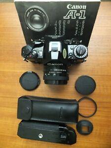 CANON A-1 BLACK SLR CAMERA # 901811 & FD 50mm 1:1.8 # 1777902 LENS +++ / CLEAN