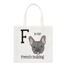 Letter F Is For French Bulldog Small Tote Bag - Alphabet Funny Shoulder