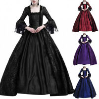 Women Medieval Renaissance Queen Ball Gown Maxi Dress Halloween Costume Newly