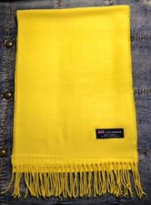 100% Cashmere Scarf  YELLOW  Solid Made in Scotland SOFT Warm NEW