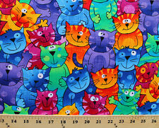 Colorful Funny Cats Packed Animal Pet Cotton Fabric Print by the Yard D579.26