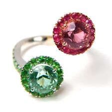 1x Ring - White-Rose Gold 9,1gr. 750/18K with Ruby, Tsavorith, Tourmaline, (750)