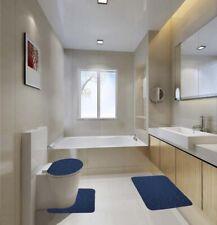 NAVY 3PC ROCK STYLE EMBOSSED BATHROOM SET MEMORY FOAM RUBBER BACKING ANTI SLIP