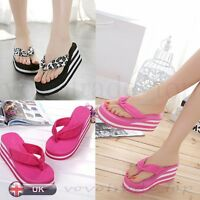 Summer Women Ladies Flip Flops Shoes Sandal Platform High Heel Indoor & Outdoor