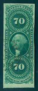 US 1862 Washington 70c green Foreign Exchange Tax Sc# R65a used VF/X handstamped